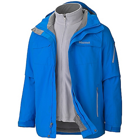 On Sale. Free Shipping. Marmot Men's Sidehill Component Jacket DECENT FEATURES of the Marmot Men's Sidehill Component Jacket Marmot MemBrain Waterproof/Breathable Fabric 100% seam taped 2-layer construction Zip-off Storm Hood with Laminated Brim PitZips Removable 200wt Fleece Liner Flapped Chest Pockets Sleeve Pocket with Water-Resistant Zipper Zippered Handwarmer Pockets with Water Resistant Zippers Powder Skirt Zippered Sunglass Pocket Mesh Goggle Pocket Elastic Draw Cord Hem DriClime Lined Collar Adjustable Velcro Cuff Angel-Wing Movement The SPECS Weight: 3 lbs 4 oz / 1474.2 g Center Back Length: 29.75in. Fit: Relaxed MemBrain 10 100% Nylon Oxford 5.4 oz/yd 100% Polyester Double Velour Fleece 8.25 oz/yd (Liner) - $242.99