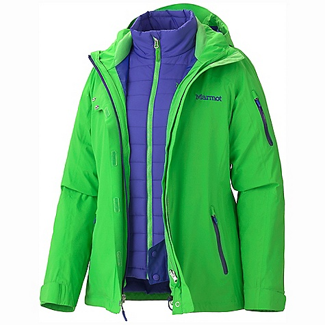 On Sale. Free Shipping. Marmot Women's Julia Component Jacket DECENT FEATURES of the Marmot Women's Julia Component Jacket Marmot MemBrain Waterproof/Breathable Fabric 100% seam taped 2-layer construction Zip-off Storm Hood with Laminated Brim PitZips Removable Thermal R Liner Jacket Chest Pocket with Water Resistant Zip Zippered Handwarmer Pockets with Water Resistant Zippers Sleeve Pass Pocket with Water Resistant Zip Powder Skirt Zippered Sunglass Pocket Goggle pocket Elastic Draw Cord Hem DriClime Lined Collar Adjustable Velcro Cuffs Angel-Wing Movement The SPECS Weight: 2 lbs 3 oz / 992.2 g Center Back Length: 27in. Fit: Regular MemBrain 2L 100% Nylon Plain Weave 2.7 oz/yd 100% Polyester Ripstop DWR 2.3 oz/yd - $296.99