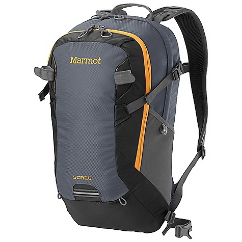 Camp and Hike Free Shipping. Marmot Scree DECENT FEATURES of the Marmot Scree Double Layered Bottom Spacer Airmesh Back Panel and Shoulder Straps Padded Laptop Sleeve Fits Most 15in. Computers Internal Pocket Fits Most Tablets and E-Readers Clipping Points with Reflective Tape Internal Organizer Front Pocket with Key Clip Tool/ Trekking Pole Attachment Hydration Port and Clip for Hanging Reservoir Removable Webbing Waist Belt Stretch Mesh Water Bottle Pockets The SPECS Weight: 1 lb 11.24 oz / 772 g Volume: 1350 cubic inches / 22 liter Access: Panel Load Reinforcement Double Layer 420d High Density Nylon 420d High Tenacity Nylon 330d Dobby Nylon - $98.95