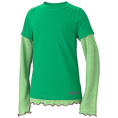 Marmot Girls' Dani LS DECENT FEATURES of the Marmot Girls' Dani Long Sleeve Soft, Comfortable, Lightweight Performance Knit Fabric Ultraviolet Protection Factor (UPF) 30 Quick-Drying Dri-Release Polyester/ Cotton Contrast Fabric Dri-Release for Permanent Moisture Wicking and Quick -Drying Properties Fresh Guard Finish for Odor Control Crew Neck Tag-Free Neckline The SPECS Weight: 3.7 oz / 104.9 g Material: 100% Polyester Jersey 4.5 oz/yd Fit: Regular - $31.95