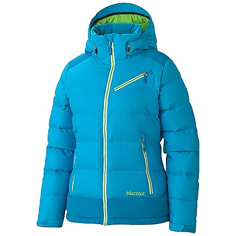 Free Shipping. Marmot Women's Sling Shot Jacket DECENT FEATURES of the Marmot Women's Sling Shot Jacket Marmot MemBrain Waterproof/Breathable Fabric 650 Goose Down Fill Power Reinforced Shoulders and Elbows Zip-off Storm Hood with Bonded Brim Handwarmer Pockets with YKK AquaGuard Water Resistant Zippers Chest Pocket with YKK AquaGuard Water- Resistant Zipper Zip-off Powder Skirt Zippered Sunglass Pocket Mesh Goggle Pocket HD Brushed Tricot Collar Lining Micro Fleece Internal Cuffs Elastic Draw Cord Hem Adjustable Velcro Cuff Angel-Wing Movement The SPECS Weight: 1 lb 14.9 oz / 876 g Center Back Length: 26.5in. Fit: Regular MemBrain 2L 100% Nylon 3.0 oz/yd MemBrain 10 100% Nylon Oxford 5.4 oz/yd - $324.95