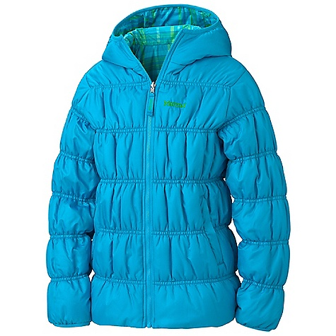 Free Shipping. Marmot Girls' Luna Jacket DECENT FEATURES of the Marmot Girls' Luna Jacket Reversible Plaid Polyester on Inside Solid Polyester on Outside Hand warmer Pockets Elastic Cuffs The SPECS Weight: 1 lb 1.6 oz / 499 g Material: 100% Polyester 2.0 oz/yd, 100% Polyester Plaid 2.0 oz/yd Center Back Length: 23in. Fit: Regular - $99.95