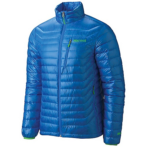 Free Shipping. Marmot Men's Quasar Jacket DECENT FEATURES of the Marmot Men's Quasar Jacket Ultralight and Durable 10 Denier Pertex Quantum Fabric 900 Fill Goose Down Zip Chest Pocket Zip Hand Pockets Elastic Bond Cuffs Packs into Pocket Elastic Draw Cord Hem Angel-Wing Movement The SPECS Weight: 8.4 oz / 238.1 g Center Back Length: 28in. Fit: Regular 100% Nylon 10d Micro Ripstop DWR 0.8 oz/yd - $274.95