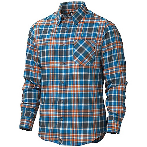 Free Shipping. Marmot Men's Cliffs Flannel LS Shirt DECENT FEATURES of the Marmot Men's Cliffs Flannel Long Sleeve Shirt Soft, Comfortable, Mid-Weight Performance Woven Fabric with Twill Texture Technical Hollowcore Flannel for Durability and Thermal Properties Without the Weight Ultraviolet Protection Factor (UPF) 30 Quick-Drying and Wicking Durable Flat Felled Seams with Contrast Interior Stitch Shirt Tail Hem Single Chest Pocket and Back Yoke on Bias The SPECS Weight: 9.3 oz / 263.7 g Fit: Semi-Fitted Material: 100% Hollow Core Polyester 4.1 oz/yd - $74.95