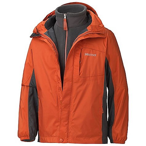 Free Shipping. Marmot Boys' Northshore Jacket DECENT FEATURES of the Marmot Boys' Northshore Jacket PreCip Waterproof/Breathable Fabric 100% Seam Taped Attached Hood Rolls Into Collar Hand Pockets Double Storm Flap Over Zipper with Snap/VelcroClosure Dri-Clime Lined Chin Guard Quick Zip Revovable 100wt Fleece Angel-Wing Movement The SPECS Weight: 1 lb 10.2 oz / 742.8 g Center Back Length: 22in. Fit: Regular PreCip 2.5 100% Nylon Ripstop 2.9 oz/yd 100% Polyester Double Velour Fleece 8.25 oz/yd (Liner) - $144.95