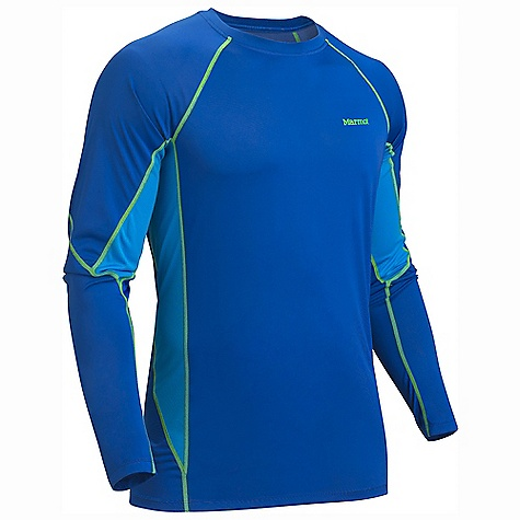 Marmot Men's Lightweight Crew LS DECENT FEATURES of the Marmot Men's Lightweight Crew Long Sleeve Polartec Power Dry with Cocona Performance Technology Marmot UpCycle Product with Recycled Polyester Cocona for Natural Odor Protection Quick-Drying and Wicking Stretch for Increased range of motion Flat-Locked Seams for Added Comfort Mesh Panels for Increased Mobility Tag-Free Neckline The SPECS Weight: 5.8 oz / 164.4 g Material: PolartecPower Dry 100% Polyester (29% Cocona) Light Weight 3.5 oz/yd Center Back Length: 28.5in. Fit: Athletic - $44.95