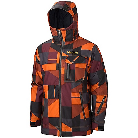 Free Shipping. Marmot Men's Geomix Jacket DECENT FEATURES of the Marmot Men's Geomix Jacket Marmot MemBrain Waterproof/Breathable Fabric Unique Geo Print 100% Seam taped 2-layer construction Thermal R Insulation Exposed Water Resistant Center Front Zipper Chest Pocket with Water Resistant Zip Flapped Chest Pocket Hand warmer Pockets with Water Resistant Zips Waist Pass Pocket with Water Resistant Zip PitZips Powder Skirt Zippered Sunglass Pocket Mesh Goggle Pocket Elastic Draw Cord Hem DriClime Lined Collar and Chin Guard Adjustable Velcro Cuffs Angel-Wing Movement The SPECS Weight: 2 lbs 3 oz / 992.2 g Center Back Length: 32in. Fit: Regular Material: MemBrain 10 2L 100% Polyester GEO Print 4.2 oz/yd - $299.95