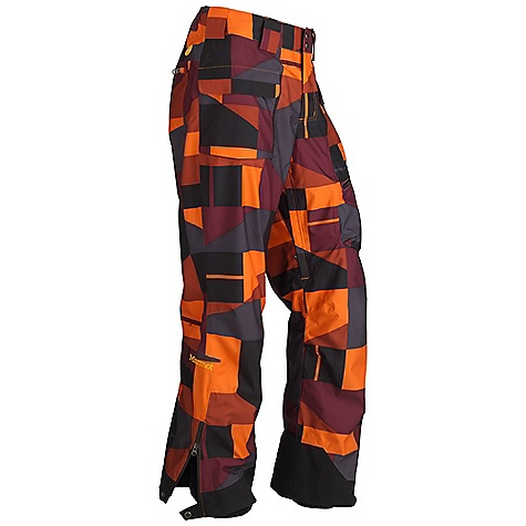 Free Shipping. Marmot Men's Geomix Pant DECENT FEATURES of the Marmot Men's Geomix Pant Marmot MemBrain Waterproof/Breathable Fabric Unique Geo Print 100% Seam taped 2-layer construction Zippered Hand Pockets Cargo Pocket with Water Resistant Zipper Zippered Back Pockets with W/R Zippers Adjustable Snap Closure Waist with Fly Zip Interior Zippered Leg Vents Ankle Zips with W/R Zippers Internal Gaiters with Gripper Elastic Articulated Knees Cordura Scuff Guard The SPECS Weight: 1 lb 9 oz / 708.7 g Fit: Loose Material: MemBrain 10 2L 100% Polyester GEO Print 4.2 oz/yd - $249.95