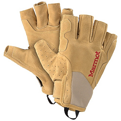 Marmot Burlay Glove DECENT FEATURES of the Marmot Burlay Glove 3/4 Length Full Grain Leather Glove Palm Reinforcement wraps to Back of Hand Perfect for Long Belay Sessions, All-day Via Ferratas, & Your Favorite Grade VI Big Wall Adventure Breathable Stretch Polyester Mesh The SPECS Weight: 4.9 oz / 139 g Material: 100% Full Grain Leather 0.8 - 1.0mm 100% Polyester Mesh 2.0 oz/yd Reinforcement: Washable Cowhide Leather 0.8 - 1.0mm - $39.95