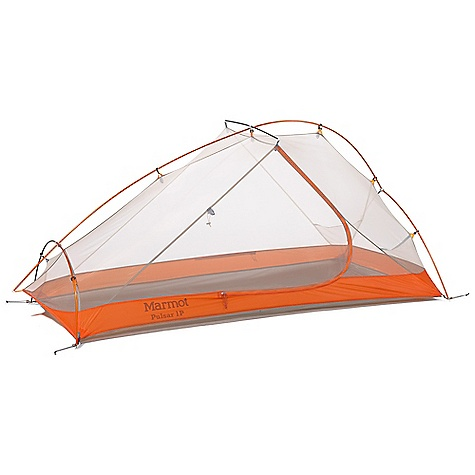 Camp and Hike Free Shipping. Marmot Pulsar 1 Person Tent DECENT FEATURES of the Marmot Pulsar 1 Person Tent DAC NSL Dual Diameter Green Poles with Eco Friendly Green Anodizing Free-Standing Design Reverse Foot Design for Additional Leg Room Color Coded in.Easy Pitchin. Clips and Poles Fully Taped Floor and Fly Seams Catenary Cut Floor Bare Bones Setup Optional Footprint Reflective Guy Out Points The SPECS Capacity: 1 Person Floor Area: 22 square feet / 2 square meter Minimum Weight: 2 lbs 15 oz / 1332 g Pack Weight: 3 lbs 6 oz / 1526 g Bare Bones Weight: 2 lbs 4 oz / 1012 g Dimension: (H x W x L): 36 x 42 x 87in. / 91 x 107 x 220 cm Vestibule Area: 7.76 square feet / 0.72 square meter Packed Size: 21.5 x 6in. / 55 x 16 cm Number/Pole Type: 2 / DAC Featherlite NSL 8.05mm Fly: 40d 100% Nylon Ripstop, Silicon/PU 1800mm W/R, F/R Canopy: 20d No-See-Um-Net F/R Floor: 40d 100% Nylon 3000mm W/R, F/R - $268.95