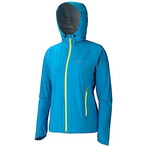 Free Shipping. Marmot Women's Hyper Jacket DECENT FEATURES of the Marmot Women's Hyper Jacket Marmot MemBrain 2.5 Strata Waterproof/Breathable Fabric 100% Seam Taped 4-Way Stretch Fabric Allows for Stretch Articulation Attached Hood with ERG Adjustment System Water-Resistant CF Zipper Zip Hand Pockets Asymmetric Cuffs with Elastic Reflective Logos Elastic Draw Cord Hem Angel-Wing Movement The SPECS Weight: 8.5 oz / 241 g Material: MemBrain Strata 100% Nylon Plain Weave Stretch 2.3 oz/yd Center Back Length: 25.25in. Fit: Athletic - $209.95