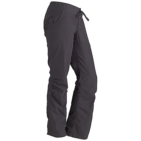 Free Shipping. Marmot Women's Lexi Pant DECENT FEATURES of the Marmot Women's Lexi Pant Soft, Comfortable, Lightweight Peached Woven Fabric Ultraviolet Protection Factor (UPF) 30 Nylon for Durability Inseam Gusset Panel Button Closure Waist with Drawcord for Added Adjustability Roll-Up Cuff Feature with Decorative Taping Velcro Closure Back Pockets Garment Washed for Soft Hand The SPECS Weight: 10.3 oz / 292 g Material: 67% Cotton, 33% Nylon Canvas 3.4 oz/yd Fit: Regular Inseam: 33in. - $74.95