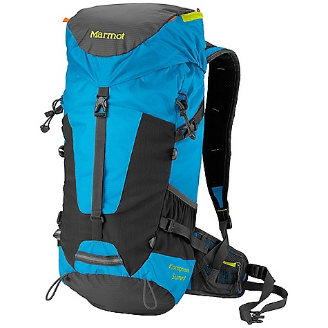 Climbing Free Shipping. Marmot Kompressor Summit Pack DECENT FEATURES of the Marmot Kompressor Summit Pack Compression Molded Shoulder Straps and Waist Belt with Air Comfort Technology Removable Closed-cell Foam Back Sheet Dual Ice Axe Loops Light Clip Attachment Point Hydration Sleeve Compression Straps 3 Mesh Stash Pockets Silicone Touch End Points on Webbing Waist Belt Pockets Ultra Light Webbing Lid Pocket Mesh Pocket with Key Clip in Lid Shoulder Harness Load Lifter Straps The SPECS 210d Nylon Double Ripstop 70d Double Ripstop Silicone Impregnated Nylon Reinforcement: 210d Nylon Double Ripstop Weight: 1 lb 10 oz / 724 g Volume: 1710 cubic inches / 28 liter Access: Top Load Torso Fit Range: 17-20.5in. / 43-52 cm Dimension: 24.5 x 10.5 x 9in. / 45 x 27 x 22 cm Frame Sheet: Removable HD Foam - $118.95