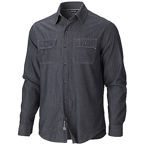 Free Shipping. Marmot Men's Ashford LS Top DECENT FEATURES of the Marmot Men's Ashford Long Sleeve Top Light Weight Denim Twill Durable Flat Felled Seams Contrast Stitch Details Double Chest Pockets with Button Closure Shirt Tail Hem Garment Washed for Soft Hand The SPECS Weight: 11.5 oz / 326 g Material: 100% Cotton Chambray 4.2 oz/yd Fit: Semi-Fitted - $64.95