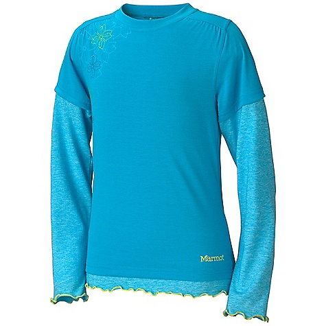 Marmot Girls' Dani LS Top DECENT FEATURES of the Marmot Girls' Dani Long Sleeve Top Soft, Comfortable, Lightweight Performance Knit Fabric Ultraviolet Protection Factor (UPF) 30 Quick-Drying Drirelease for Permanent Moisture Wicking and Quick - Drying Properties Fresh Guard Finish for Odor Control Crew Neck Tag-Free Neckline The SPECS Weight: 3.7 oz / 104.9 g Material: 100% Polyester Jersey 4.5 oz/yd Drirelease Cotton 85% Polyester, 15% Cotton 3.7 oz/yd Fit: Regular - $31.95