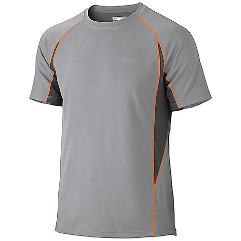 Marmot Men's Cypher SS Top DECENT FEATURES of the Marmot Men's Cypher Short Sleeve Top Lightweight, Breathable, Mesh Pique Performance Knit Fabric Ultraviolet Protection Factor (UPF) 50 Cocona Technology for Natural Odor Protection Quick-Drying and Wicking Contrast Flat-Locked Seams for Added Comfort Raglan Sleeve for Increased Range of Motion Forward Side Seam to Avoid Chaffing Tag-Free Neckline Reflective Logos The SPECS Weight: 6 oz / 170.1 g Material: 100% Polyester (49% Cocona) 4.0 oz/yd Fit: Semi-Fitted - $44.95