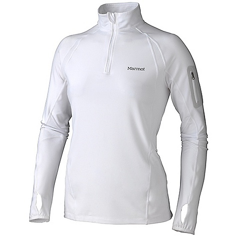 Free Shipping. Marmot Women's Helix 1-2 LS Zip DECENT FEATURES of the Marmot Women's Helix 1/2 Long Sleeve Zip Lightweight, Breathable, Soft Performance Knit Fabric Ultraviolet Protection Factor (UPF) 50 Polyester Backing for Wicking and Quick-Drying Nylon for Durability Mesh Panels for Breathability Raglan Sleeve for Increased Range of Motion Flat-Locked Seams for Added Comfort Bonded Zipper Secure Media Pocket Droptail Hem for Increase Coverage Thumbholes Tag-Free Neckline Reflectivity The SPECS Weight: 9.2 oz / 260.8 g Center Back Length: 26.5in. Fit: Semi-Fitted 57% Nylon 30% Polyester 13% Elastane Terry Twill 6.5 oz/yd 100% Polyester Pique 4.2 oz/yd - $84.95