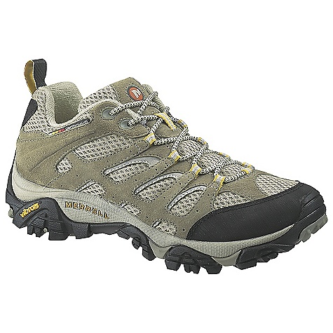 Camp and Hike On Sale. Free Shipping. Merrell Women's Moab Ventilator Shoe FEATURES of the Merrell Women's Moab Ventilator Shoe Dura leather and mesh upper Bellows tongue keeps debris out Synthetic leather toe cap and heel counter Breathable mesh lining wicks to keep feet dry M Select Fresh naturally prevents odor before it starts for Fresh smelling feet Molded nylon arch shank Merrell air cushion in the heel absorbs shock and adds stability Merrell QForm Comfort midsole provides women's specific stride-sequenced cushioning 5mm lug depth Vibram outsole - $79.99