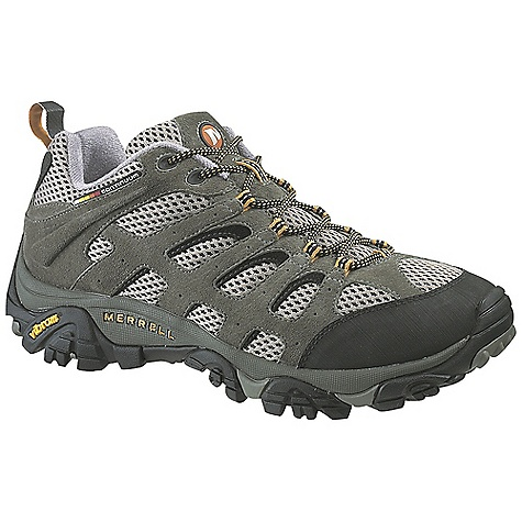Camp and Hike On Sale. Free Shipping. Merrell Men's Moab Ventilator Shoe FEATURES of the Merrell Men's Moab Ventilator Shoe Dura leather and mesh upper Bellows tongue keeps debris out Synthetic leather toe cap and heel counter Breathable mesh lining wicks to keep feet dry M Select Fresh naturally prevents odor before it starts for Fresh smelling feet Molded nylon arch shank Merrell air cushion in the heel absorbs shock and adds stability Compression molded EVA footframe provides cushioning 5mm lug depth Vibram outsole - $79.99