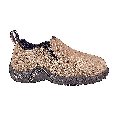 Merrell Toddler Jungle Moc Shoe DECENT FEATURES of the Merrell Toddler Jungle Moc Shoe Strobel construction Suede upper Nylex lining treated with Aegis EVA removable footbed treated with Aegis The SPECS Weight: 6 oz EVA midsole provide cushioning Merrell air cushion in the heel absorbs shock and adds stability Merrell Sprint Junior Sole/Non-Marking Rubber - $44.95