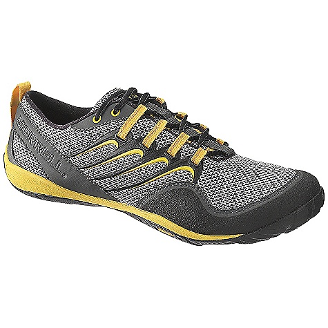 Camp and Hike On Sale. Free Shipping. Merrell Men's Trail Glove Shoe DECENT FEATURES of the Merrell Men's Trail Glove Shoe Barefoot construction Synthetic leather and air mesh upper Merrell Omni-Fit lacing system secured with welded TPU provides a precise, glove-like fit Synthetic leather rear foot sling provides stability Internal support construction secures the midfoot for optimal fit and support Non-removable microfiber footbed treated with Aegis The SPECS Weight: 6.2 oz 0mm Drop / 4mm Cush / 9.5mm Stack Height 1mm forefoot shock absorption plate maintains forefoot flexibility and protects the foot by distributing pressure Vibram Trail Glove Sole/Rubber Compound TC-1 - $74.99