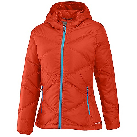 On Sale. Free Shipping. Merrell Women's Astor Hoodie DECENT FEATURES of the Merrell Women's Astor Hoodie Cozy Lycra-bound hanging hood stays put Subtle satin debossed ogilvy lining Internal zip secure chest pocket Lycra-bound cuffs seal out drafts Soft tricot chin guard prevents chafing Quilted Conductor fleece back panel adds warmth Dual zip-secure hand pockets Drawcord adjustable hem The SPECS 600 fill power premium goose down 100% polyester Micro-denier downproof fabric Durable water-resistant finish sheds moisture from snow and rain Center Back Length: Medium: 26in. - $151.99
