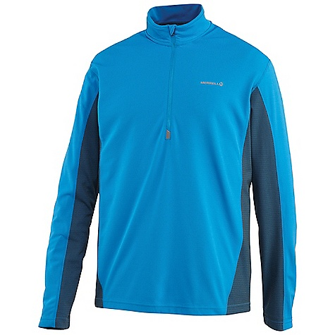 Free Shipping. Merrell Men's Trimaran Half Zip Top DECENT FEATURES of the Merrell Men's Trimaran Half Zip Top Our most technical, runable style Two-sided, double-knit mesh Set-in sleeves Reverse contrasting side panels eliminate side seams and chafing Flatlock stitching reduces seam rubbing Forward shoulder seam eliminates high friction rub under pack straps Reflective zipper detail and logos for visibility The SPECS Fabric: 100% Polyester UPF 20 Center Back Length: 28.5in. - $54.95