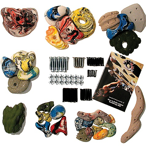 "Climbing Take the mystery out of buying Climbing holds with a Mega Pack by Metolius. It's like a Climbing wall in a box. All you need to add is the frame and plyWood! Hugely popular, each Mega Pack includes a sampling of everything from Screw-On Hand and Foot Holds to Micros, Modulars and Mini Jugs, to Macros, Roof Jugs and Screw-on Corners (see below!). Plus you get all the mounting hardwAre and our ""How to Build a Home Bouldering Wall"" Booklet. The Mega Packs Are a random mix chosen from all of our 7 hold lines combined. Features of the Metolius 30 Hold Mega Set 5 Screw-On Footholds 5 Screw-On Handholds 1 Screw-On Rail 1 Screw-On Outside Corner 4 Screw-On Modulars 5 Micros 4 Modulars 4 Mini Jugs 1 Macro/Roof Jug How to Build a Home Bouldering Wall booklet - $87.16"