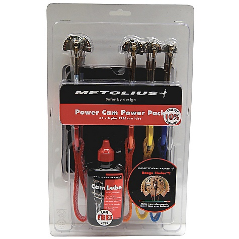 Climbing Free Shipping. Metolius Ultralight Power Cam Pack DECENT FEATURES of the Metolius Ultralight Power Cam Pack Pre-packaged set of 4 Power Cams Recyclable packaging Includes free Metolius Cam Lube Available as a set of #1-4 or #5-8 The SPECS for 1 Range: 0.49 - 0.71in. / 12.5 - 18.0 mm Strength: 8 kN / 1800 lbf Weight: 1.9 oz. / 54 g The SPECS for 2 Range: 0.62 - 0.89in. / 15.5 - 22.5 mm Strength: 10 kN / 2250 lbf Weight: 2.3 oz. / 64 g The SPECS for 3 Range: 0.74 - 1.04in. / 18.5 - 26.5 mm Strength: 10 kN / 2250 lbf Weight: 2.4 oz. / 68 g The SPECS for 4 Range: 0.93 - 1.32in. / 23.5 - 33.5 mm Strength: 10 kN / 2250 lbf Weight: 2.7 oz. / 77 g The SPECS for 5 Range: 1.01 - 1.56in. / 28.0 - 39.5 mm Strength: 10 kN / 2250 lbf Weight: 3.0 oz. / 86 g The SPECS for 6 Range: 1.28 - 1.89in. / 32.5 - 48.0 mm Strength: 10 kN / 2250 lbf Weight: 3.5 oz. / 98 g The SPECS for 7 Range: 1.57 - 2.26in. / 40.0 - 57.5 mm Strength: 10 kN / 2250 lbf Weight: 4.5 oz. / 127 g The SPECS for 8 Range: 1.91 - 2.81in. / 48.5 - 71.5 mm Strength: 10 kN / 2250 lbf Weight: 5.3 oz. / 150 g ALL CLIMBING SALES ARE FINAL. - $227.95