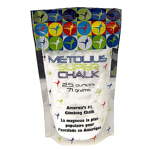 Climbing Metolius Super Chalk FEATURES of the Metolius Super Chalk The #1 selling brand of climbing chalk in America The original chalk specifically formulated for rock climbing A safe drying agent is added to the highest-quality magnesium carbonate for maximum sweat absorption and friction Packaged in re-sealable, zippered plastic bags - $2.50