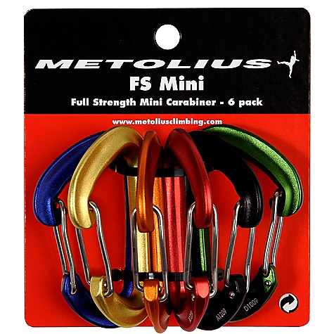 Climbing Metolius FS Mini Carabiner Jet Set 6pk DECENT FEATURES of the Metolius FS Mini Carabiner Jet Set 6 Pack Colors match our cams and nuts (sizes #1-6) for easy identification ALL CLIMBING SALES ARE FINAL. - $43.50