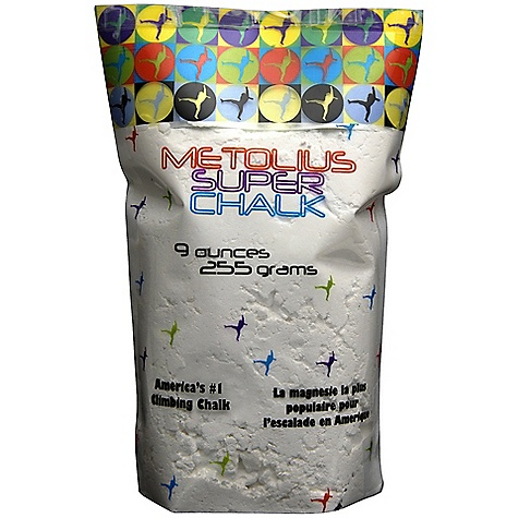 Climbing Metolius Super Chalk 9 oz DECENT FEATURES of the Metolius Super Chalk 9 oz The #1 selling brand of climbing chalk in America! The original chalk specifically formulated for rock climbing A safe drying agent is added to the highest-quality magnesium carbonate for maximum sweat absorption and friction The SPECS Weight: 9 oz. / 255 g ALL CLIMBING SALES ARE FINAL. - $7.50