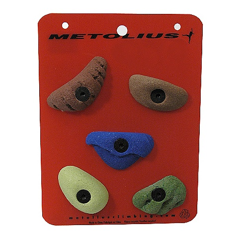 Climbing Metolius Latest Rage Micro Holds 5 Pack DECENT FEATURES of the Metolius Micro Holds 5 Pack Metolius' smallest bolt-on holds These holds make great footholds on almost any angle wall Many Micro shapes make excellent handholds, especially on low-angle walls Attach with low-profile, 3/8in. flat-head bolts Includes mounting hardware Sold in a pack of 5 holds Climbing holds may ship in a color that does NOT match what is pictured here. Sorry about it. ALL CLIMBING SALES ARE FINAL. - $26.95