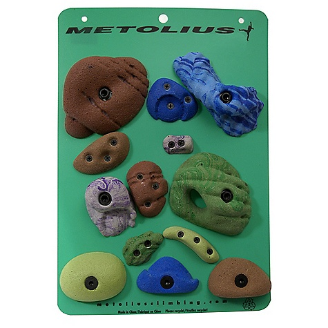 Climbing Metolius Latest Rage Bouldering Set 12 Pack DECENT FEATURES of the Metolius Latest Rage Bouldering Set Climbing Holds Bolt-on climbing holds ideal for adding to a home wall Includes a variety of shapes and sizes Great for setting one boulder problem Includes 12 holds total 1 start/finish jug 3 Modular bolt-on holds 3 Micro bolt-on holds 3 Screw-On Handholds 2 Screw-On Footholds Latest Rage line offers a great variety of the newest Metolius hold lines Shape and color of holds ordered may vary from what is pictured. Sorry about it. - $42.95