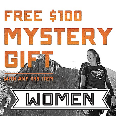 Camp and Hike Free Shipping. $100 Mystery Gift - FREE with $99 Item and Code MYSTERY Right now we're giving away a kick ass $100 Mystery Gift with any Item over $49 . You're definitely going to spend $49 this year on something, so you might as well do it now and get the free Mystery Gift. Here's decent list of things you were thinking of getting, and what you should get instead:   You were probably going to get a monogramed iPhone(TM), but you should forget that and get a new Moosejaw Jacket instead   Your baby was going to get you a Land Rover for Halloween, but please ask her to get you a new tent instead   You should for sure postpone getting a pair of fancy jeans in lieu of a new backpack You'll have to select your size and gender of the Mystery Gift and use code MYSTERYFB to make it free. Love the madness, Moosejaw Here are some rules about this Mystery Gift thing.... Only one Mystery Gift per person with purchase of any item over $49. Qualifying item value is after any other applicable discounts and before tax and shipping charges. Qualifying item excludes gift cards. You CANNOT get a Mystery Gift with the purchase of a Gift Card. Sorry about it. The deal is NOT good with full price Patagonia items. Cannot be combined with any other offers or applied to prior orders. The Mystery Gift cannot be refunded or exchanged. This is important so I'm going to repeat it. The Mystery Gift cannot be refunded or exchanged. The $100 worth of stuff in each Mystery Gift is at least $100 at the normal retail price as opposed to a sale price. Offer ends on Wednesday, December 13, 2012, or while supplies last, so please snap to. iTunes and iPhone are trademarks of Apple, Inc. used here for descriptive purposes only. - $100.00