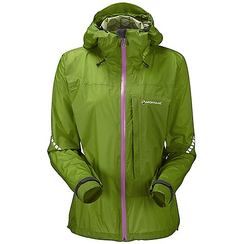 Fitness Free Shipping. Montane Women's Minimus Jacket DECENT FEATURES of the Montane Women's Minimus Jacket Pertex Shield + provides exceptionally high fabric breathability at 25,000 MVTR and a 20,000mm hydrostatic head Micro-taped seams throughout to increase breathable surface area Articulated arms for reach high movement and tailored specifically to reduce hem lift Fully adjustable helmet compatible mountain hood with three point adjustment and wired peak Mesh ventilated, map-sized, YKK Aqua Guard zippered chest pocket Full length YKK Aqua Guard two way front zip with internal storm flap and rain drain Adjustable cuffs with grab tabs for ease of use with gloves or mitts Adjustable hem to prevent weather entry and heat loss Single hand adjustable elasticated face aperture 360deg 'Dusk Till Dawn' reflectivity Montane stuff sac perfect for storage on the move The SPECS Weight: 6.9 oz / 195 g Activities: Lightweight Mountain Walking / Trail Running / Trekking / Travel Fit: Active Mountain Fabric: Pertex Shield+ This product can only be shipped within the United States. Please don't hate us. - $238.95