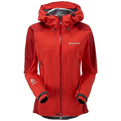 Climbing On Sale. Free Shipping. Montane Women's Venture Jacket FEATURES of the Montane Women's Venture Jacket Exceptionally waterproof and breathable event Lightweight 3 Layer Free Flow NailHead tough reinforcement on the shoulders and hips Micro-taped seams throughout to increase breathable surface area Articulated arms for reach high movement and tailored specifically to reduce hem lift Fully adjustable helmet compatible mountain hood with three point adjustment and wired peak Two deep A-line map sized hand pockets with YKK Aqua Guard zips positioned well clear of backpack or climbing harness belt Internal bonded chest pocket for handy essentials Two way YKK Aqua Guard centre front zip with internal storm flap and rain drain Adjustable cuffs with grab tabs for ease of use with gloves or mitts Adjustable hem to prevent spindrift entry and heat loss - $232.99