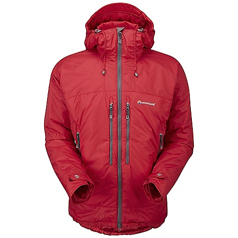 Climbing Free Shipping. Montane Men's Flux Jacket DECENT FEATURES of the Montane Men's Flux Jacket Outer fabric Pertex Microlight Rip-stop that is completely windproof, showerproof, fast drying and features an exceptional durable water repellency Dual density zoned Primaloft Eco insulation with internal baffle anchors: 100g Primaloft Eco insulation in the main body. 60g Primaloft Eco in the hood and arms Chest pocket area features 60g Primaloft Eco in front of and behind the pockets giving 120g in total Inner hood and rear hem storm lined with Pertex Microlight for additional weather protection Articulated arms for reach high movement and tailored specifically to reduce hem lift Fully adjustable helmet compatible mountain hood with three point adjustment and wired peak Internal tab to lock down and roll away the hood in windy conditions Soft fleece beardguard around face and mouth for extra comfort Two map-sized zipped Napoleon chest pockets for easy access to essentials whilst on the move Two deep A-line hand-warmer pockets positioned well clear of backpack or climbing harness belt. Both pockets encased in Primaloft to help warm the hands Full length, reversed and baffled two way YKK front zip for ease of use with a backpack or climbing harness Easy sliding YKK Vislon zip for easy use in icy conditions Adjustable cuffs with grab tabs for ease of use with gloves or mitts Adjustable hem to prevent spindrift entry and heat loss Scotchlite reflective details for mountain safety Stuffs into right hand pocket for easy storage The SPECS Weight: L: 20.1 oz / 570 g Activities: Alpine Climbing / Mountain Walking / Trekking / Travel Fit: Classic Mountain Fabric: Pertex Microlight Rip-stop Filling: Primaloft Eco 100g / 60g Lining: PEAQ Synthetic This product can only be shipped within the United States. Please don't hate us. - $198.95