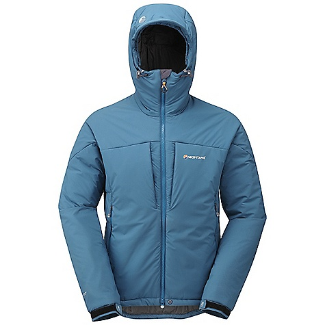 Climbing Free Shipping. Montane Men's Ice Guide Jacket DECENT FEATURES of the Montane Men's Ice Guide Jacket Outer fabric Pertex Microlight Stretch; windproof, showerproof, fast drying and features an exceptional durable water repellency Dual density zoned Primaloft Eco insulation with internal baffle anchors: 210g Primaloft Eco insulation to front of body. 170g Primaloft Eco throughout Pertex Microlight forearm reinforcement for extra protection against rock abrasion Articulated arms for reach high movement and tailored specifically to reduce hem lift Fully adjustable helmet compatible mountain hood with three point adjustment and wired peak Internal tab to lock down and roll away the hood in windy conditions Soft fleece beardguard around face and mouth for extra comfort Two protected chest pockets for easy access to essentials whilst on the move Two deep hand-warmer pockets positioned well clear of backpack or climbing harness belt. Both pockets encased in Primaloft to help warm hands Full length, reversed and baffled two way YKK front zip for ease of use with a backpack or climbing harness Easy slide two way YKK Vislon zips for use in icy conditions Adjustable cuffs with grab tabs for ease of use with gloves or mitts Adjustable hem to prevent spindrift entry and heat loss Scotchlite reflective details for mountain safety The SPECS Weight: M: 22.4 oz / 635 g Activities: Mountaineering / Ice Climbing / Mixed Ice Climbing / Back Country Skiing / Bouldering / Belaying Fit: Active Mountain Fabric: Pertex Microlight Stretch Reinforcement Fabric: Pertex Microlight Filling: Primaloft Eco 170g / 133g / 40g Lining: PEAQ Synthetic This product can only be shipped within the United States. Please don't hate us. - $288.95