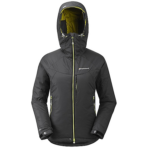 Climbing Free Shipping. Montane Women's Flux Jacket DECENT FEATURES of the Montane Women's Flux Jacket Outer fabric Pertex Microlight Mini Rip-stop that is completely windproof, showerproof, fast drying and features an exceptional durable water repellency Dual density zoned Primaloft Eco insulation with internal baffle anchors: 100g Primaloft Eco insulation in the main body. Chest pocket area features 60g Primaloft Eco in front of and behind the pockets giving 160g in total Articulated arms for reach high movement and tailored specifically to reduce hem lift Fully adjustable helmet compatible mountain hood with three point adjustment and wired peak Internal tab to lock down and roll away the hood in windy conditions Soft fleece chinguard around face and mouth for extra comfort Warm brushed tricot inside hood to rest against ears for extra warmth Map-sized zipped Napoleon chest pocket for easy access to essentials whilst on the move Two deep A-line hand-warmer pockets positioned well clear of backpack or climbing harness belt. Both pockets encased in Primaloft to help warm the hands Full length, reversed and baffled two way YKK front zip for ease of use with a backpack or climbing harness Easy sliding YKK Vislon zip for easy use in icy conditions Adjustable cuffs with grab tabs for ease of use with gloves or mitts Adjustable hem to prevent spindrift entry and heat loss Reflective details for mountain safety Stuffs into right hand pocket for easy storage The SPECS Weight: 21.2 oz / 600 g Activities: Alpine Climbing / Mountain Walking / Trekking / Travel Fit: Classic Mountain Fabric: Pertex Microlight Mini Rip-stop Filling: Primaloft Eco 100g / 60g This product can only be shipped within the United States. Please don't hate us. - $198.95