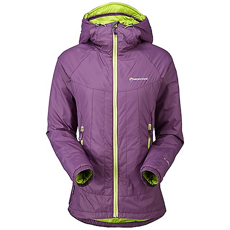 Climbing Free Shipping. Montane Women's Prism Jacket DECENT FEATURES of the Montane Women's Prism Jacket Pertex Microlight Mini Rip-stop outer fabric that is completely windproof, fast drying and features an exceptional durable water repellency 40g Primaloft Eco insulation throughout the body that is warm, packable and exceptionally fast drying 40g Primaloft Eco in front of and behind the pockets giving this area 80g of insulation in total Articulated arms for reach high movement and tailored specifically to reduce hem lift Fully adjustable helmet compatible mountain hood with three point adjustment and wired peak Internal tab to lock down and roll away the hood in windy conditions Soft fleece chinguard around face and mouth for extra comfort Two insulated hand-warmer pockets positioned well clear of backpack or climbing harness belt Full length, reversed and baffled one way YKK front zip for ease of use with a backpack or climbing harness Low bulk and profile elasticated cuffs with ability to pull up to forearms to aid cooling Adjustable hem to prevent spindrift entry and heat loss Reflective details for mountain safety Stuffs into right hand pocket for easy storage and use as a small sleeping pillow The SPECS Weight: 12.8 oz / 363 g Activities: Lightweight Mountaineering / Fast Alpine / Mountain Walking / Trekking / Travel Fit: Active Mountain Fabric: Pertex Microlight Mini Rip-stop Filling: Primaloft Eco 40g This product can only be shipped within the United States. Please don't hate us. - $148.95