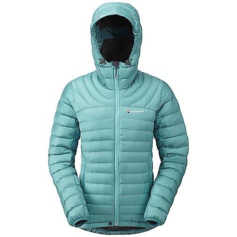 Climbing On Sale. Free Shipping. Montane Women's Featherlite Down Jacket FEATURES of the Montane Women's Featherlite Down Jacket Lightweight, 100% windproof Pertex Quantum outer with a superior DWR PEAQ Down lining that is supremely comfortable next to the skin, highly breathable and fast drying Exceptionally high quality 750+ fill power Micro baffle anatomical construction allowing perfect loft space for the down Articulated arms for reach high movement and tailored specifically to reduce hem lift Down filled technical hood with three point adjustment Internal tab to lock down and roll away the hood in windy conditions Two hand-warmer pockets with YKK Reverse coil zips Full length, reversed and baffled YKK front zip Adjustable hem to prevent spindrift entry and heat loss Subtle Scotchlite Reflective roundel details Includes a Montane stuff sac perfect for storage on the move Activities: Fast Alpine / Mountain Walking / High Trekking / Travel / Basecamp / Mountain Marathon - $180.99