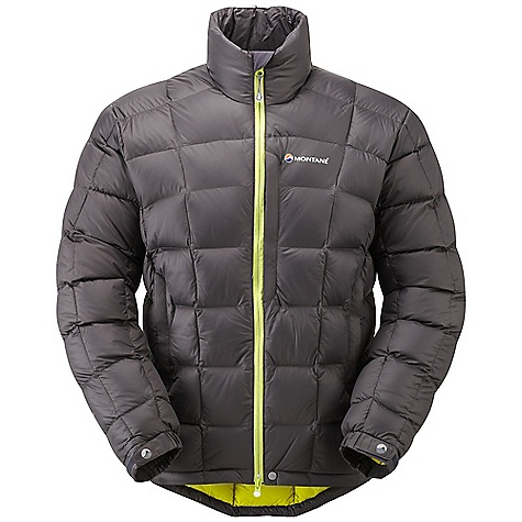 Camp and Hike On Sale. Free Shipping. Montane Men's Anti-Freeze Jacket FEATURES of the Montane Men's Anti-Freeze Jacket Pertex Microlight outer that has a remarkable durable water repellency and is 100% windproof Peaq Down liner that is exceptionally comfortable next to the skin, highly breathable and fast drying High quality down with a 750+ fill power Stitch through down panel construction Articulated arms for reach high movement and tailored specifically to reduce hem lift Soft fleece beardguard around neck for extra comfort Two hand-warmer pockets with reversed zips and map-sized chest pocket Full length reversed and baffled two way front zip Part elasticated self fabric cuffs with Velcro adjustment Adjustable hem to prevent spindrift entry and heat loss Includes own waterproof storage Montane stuff sac - $173.99