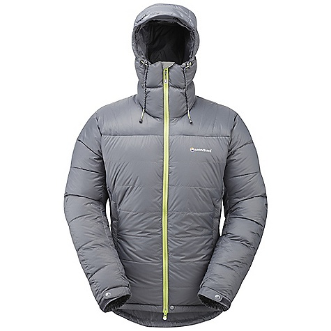 Camp and Hike Features of the Montane Men's Black Ice Jacket Free Flow Ultralite 45 g/m2 outer shell waterproof to a minimum of 800 mm hydrostatic head Peaq Down liner that is exceptionally comfortable next to the skin, Highly breathable and fast drying Exceptionally High quality goose down with 800+ fill power Primaloft Eco protection on the shoulders, forearms and hood Storm protection on inner hood, hem and hand pockets providing additional protection for the down fill and continued comfort when working hard Classic box wall construction throughout eliminating cold spots Vertical control baffle arrangement on arms preventing down migration during High Activeity Articulated arms for reach High movement and tailored specifically to reduce hem lift Fully adjustable helmet compatible mountain hood with 3 point adjustment and storm vision wired peak Non-whip face aperture drawcords in windy conditions Internal tab to lock down and roll away the hood in windy conditions Soft fleece beardguard around face and mouth for extra comfort Internal fine mesh security pocket and internal water bottle warmer pocket Two deep hand-warmer pockets with outer fabric storm protection Full length, reversed and baffled two way YKK front zip for ease of use with a backpack or Climbing harness Internal 'sleeping bag' type neck baffle and internal half waist drawcord to prevent spindrift entry and core body heat loss Adjustable cuffs with grab tabs for ease of use with gloves or mitts Adjustable hem to prevent spindrift entry and heat loss Scotchlite reflective roundel details Own waterproof storage Montane stuff sac - $278.99