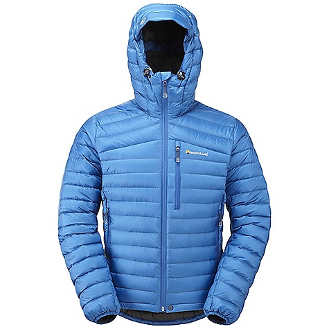 Climbing Free Shipping. Montane Men's Featherlite Down Jacket DECENT FEATURES of the Montane Men's Featherlite Down Jacket Lightweight, 100% windproof Pertex Quantum outer with a superior DWR PEAQ Down liner that is supremely comfortable next to the skin, highly breathable and fast drying Exceptionally high quality 750+ fill power Micro baffle anatomical construction allowing perfect loft space for the down Articulated arms for reach high movement and tailored specifically to reduce hem lift Down filled technical hood with 3 point adjustment Internal tab to lock down and roll away the hood in windy conditions Two storm-lined hand-warmer pockets with reversed YKK zips Chest pocket for handy essentials in the mountains Full length, reversed and baffled YKK front zip for ease of use with a backpack or climbing harness Adjustable hem to prevent spindrift entry and heat loss Subtle Scotchlite reflective roundel details Includes a Montane stuff sac perfect for storage on the move The SPECS Weight: M: 14.3 oz / 405 g Activities: Fast Alpine / Mountain Walking / Ultra Distance Backpacking / Trekking / Travel Fit: Active Mountain Fabric: Pertex Quantum Rip-stop Filling: 140g (size M) of 93/7 down at 750+ fill (USA) Lining: Ultra soft PEAQ Down This product can only be shipped within the United States. Please don't hate us. - $268.95