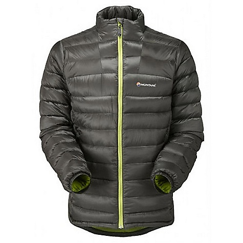 Climbing Free Shipping. Montane Men's Nitro Jacket DECENT FEATURES of the Montane Men's Nitro Jacket Free Flow Titanium outer shell. Super lightweight 100% Nylon minirip with a 300mm hydrostatic head, lightweight 34g/m2 DWR finish Exceptionally high quality goose down with 800+ fill power Articulated arms for reach high movement and tailored specifically to reduce hem lift Body contoured midi baffle stitch through construction Mini baffle deep neck for ergonomic fit Soft fleece beardguard around face and mouth for extra comfort Down fill both in front of and behind the hand-warmer pockets. Both featuring storm flaps Inner mesh security pocket for storage of handy essentials Full length, reversed and baffled two way YKK front zip for ease of use with a backpack or climbing harness Low bulk and profile elasticated cuffs which can be pulled up forearms to aid cooling Adjustable hem to prevent spindrift entry and heat loss Includes Free Flow Titanium Montane stuff sac perfect for storage on the move The SPECS Weight: L: 15.2 oz / 430 g Activities: Lightweight Mountaineering / Fast Alpine / Mountain Walking / Trekking / Travel Fit: Active Mountain Fabric: Free Flow Titanium Filling: 150g (M) of 93/7 goose down at 800+ fill (USA) Lining: Ultra soft PEAQ Down This product can only be shipped within the United States. Please don't hate us. - $238.95
