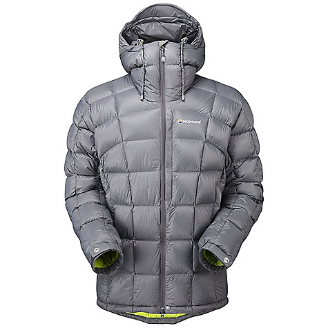 Camp and Hike On Sale. Free Shipping. Montane Men's North Star Jacket FEATURES of the Montane Men's North Star Jacket Free Flow Ultralite 45 g/m2, 800 mm minimum hydrostatic head, highly water resistant outer shell Peaq Down liner that is comfortable next to the skin, highly breathable and fast drying Exceptionally high quality goose down with 800+ fill power Stitch through down panel construction Articulated arms for reach high movement and tailored specifically to reduce hem lift Fully adjustable helmet compatible mountain hood with three point adjustment and wired peak Internal tab to lock down and roll away the hood in windy conditions Soft fleece beardguard around face and mouth for extra comfort Two deep hand-warmer pockets positioned well clear of backpack or climbing harness belt Chest pocket for handy essentials in the mountains Full length, reversed and baffled two way YKK front zip for ease of use with a backpack or climbing harness Adjustable cuffs with grab tabs for ease of use with gloves or mitts Adjustable waist and hem to prevent spindrift entry and heat loss Discreet Scotchlite reflective details for mountain safety Own waterproof storage Montane stuff sac - $229.99