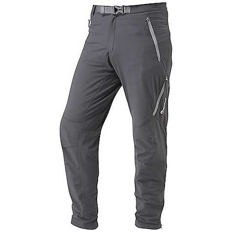 Climbing Free Shipping. Montane Men's Terra Alpine Pant DECENT FEATURES of the Montane Men's Terra Alpine Pant GRANITE STRETCH outer fabric features a four way stretch and is remarkably weather resistant Articulated knees for step high movement, perfect for mountain use Tailored waist to reduce excess fabric with double press stud fastening Zipped fly and webbing belt with low profile buckle Two zipped hand pockets for storage of essentials whilst on the move Zipped pull out security pocket Two mesh lined thigh vents to aid cooling when working hard 1/4 length side zips for access, ventilation and the ability to pull over trail footwear Press stud ankle adjustment for tight fit against footwear and to prevent heat loss The SPECS Weight: M: 14.6 oz / 415 g Activities: Alpinism / Mountain Walking / Rock Climbing / Trekking / Travel Fit: Active Mountain Fabric: Granite Stretch This product can only be shipped within the United States. Please don't hate us. - $128.95