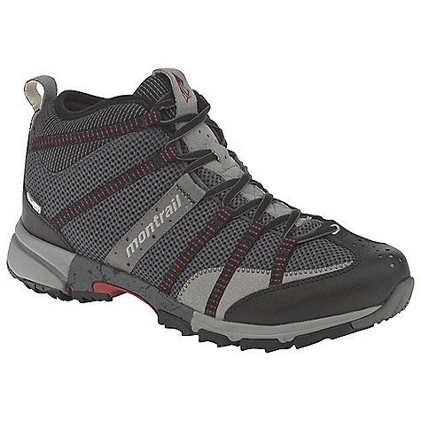 Camp and Hike Free Shipping. Montrail Men's Mountain Masochist Mid OutDry Boot DECENT FEATURES of the Montrail Men's Mountain Masochist Mid OutDry Boot Webbing and strap closure system provides exceptional fit and comfort for the long run Full foot Trail Shield protects the foot from rocks and trail debris Gryptonite outsole provides great traction on wet and dry surfaces Gusseted tongue keeps out debris Big, angled blades at the forefoot dig deep for grip on loose or muddy terrain Digging lugs provide grip on mud, gravel, and other loose surfaces The SPECS Midsole: Single-density molded EVA Durometer: Medial Post 65 Asker C / 55 Asker C (+/- 3 degrees) Ride Height: 20 mm heel, 10 mm forefoot Outsole: Gryptonite Protection: Forefoot-only Trail Shield Toe Counter: Synthetic overlay Weight: 14.4 oz / 408 g Fit: Snug midfoot and open toe box - $139.95