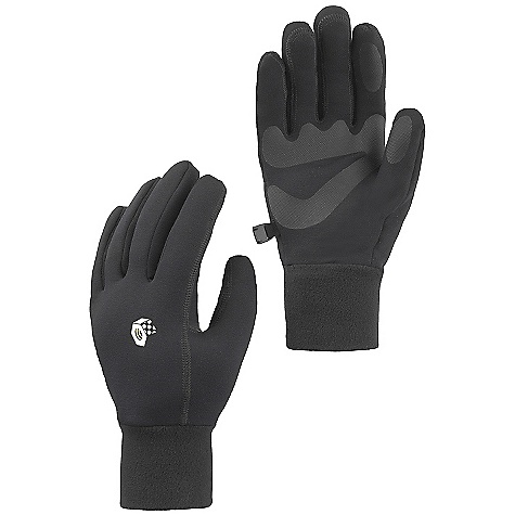 On Sale. Mountain Hardwear Heavyweight Power Stretch Glove DECENT FEATURES of the Mountain Hardwear Heavyweight Power Stretch Glove Snug-fitting, heavyweight Polartec Power Stretch keeps hands warm and allows them to breathe Flat-lock construction for a seamless fit Welded palm and finger patches add wear resistance and enhance grip Wear alone or use as a liner Seamless finger tips for increased sensitivity Imported The SPECS Average Weight: 1.9 oz / 53 g Body: Polartec Power Stretch (88% polyester, 12% elastane) Palm: Welded Polyurethane - $23.99